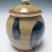lidded jar cobalt highlights