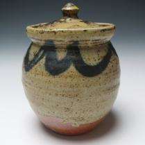 lidded jar dry ash glaze
