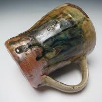 mug cobalt slip under ash glaze